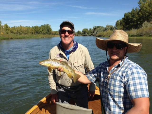 Happy client on the Bighorn River with Shade Tree Outfitters